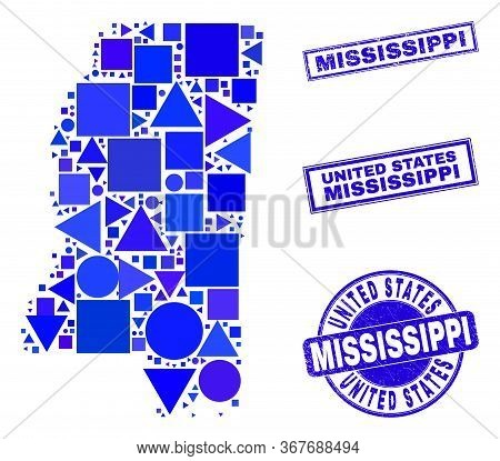 Vector Mosaic Mississippi State Map. Geographic Scheme In Blue Color Tones, And Grunge Round And Rec