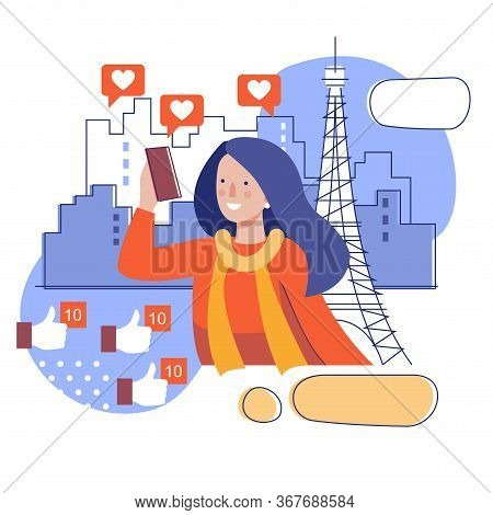 A Girl Takes A Selfie Against The Background Of The Eiffel Tower. Stylized Illustration Of A Travel