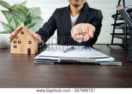 Real Estate And Sign Contract, Seller And Buyer Of Home Successful Negotiate And Achievement To Agre