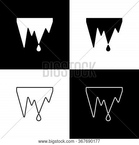 Set Icicle Icon Isolated On Black And White Background. Stalactite, Ice Spikes. Winter Weather, Snow