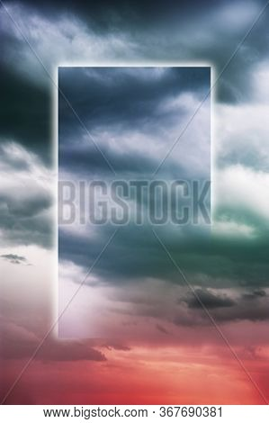 Aesthetic Modern Art Collage With Clouds Sky In Style Of The 80-90s. Real Natural Sky Composition In