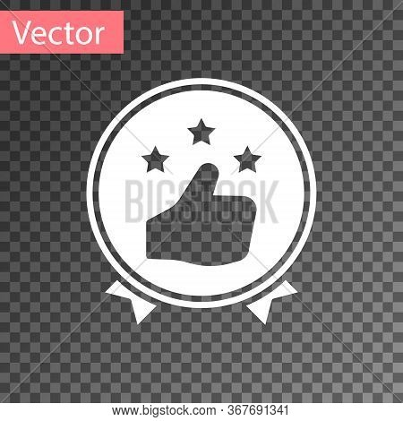 White Consumer Or Customer Product Rating Icon Isolated On Transparent Background. Vector