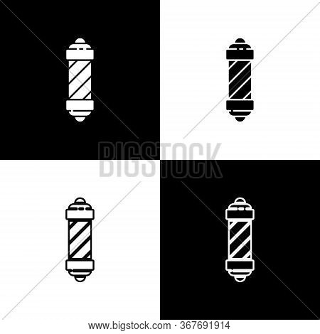 Set Classic Barber Shop Pole Icon Isolated On Black And White Background. Barbershop Pole Symbol. Ve