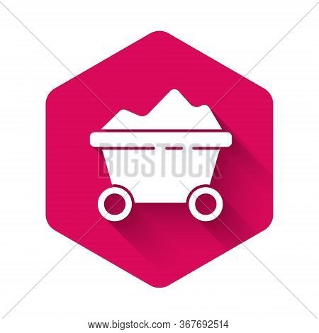 White Coal Mine Trolley Icon Isolated With Long Shadow. Factory Coal Mine Trolley. Pink Hexagon Butt