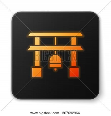 Orange Glowing Neon Japan Gate Icon Isolated On White Background. Torii Gate Sign. Japanese Traditio