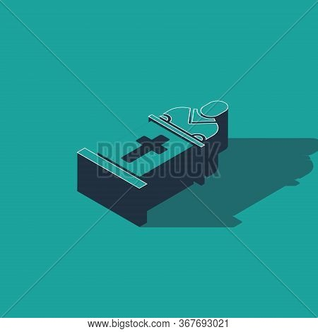 Isometric Church Pastor Preaching Icon Isolated On Green Background. Vector