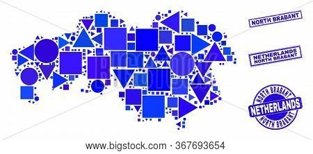 Vector Mosaic North Brabant Province Map. Geographic Plan In Blue Color Tinges, And Dirty Round And