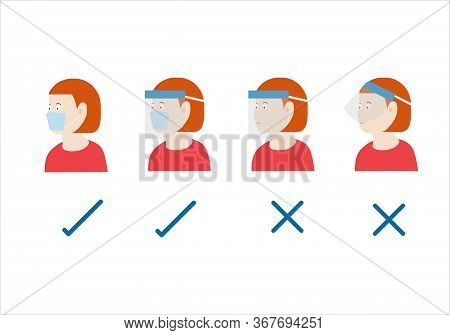 Concepts Of How To Wear Protective Mask Correctly. Illustration Of Woman Wearing Protective Hygeinic