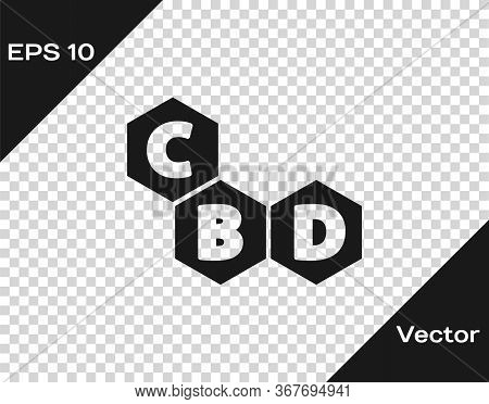 Black Cannabis Molecule Icon Isolated On Transparent Background. Cannabidiol Molecular Structures, T