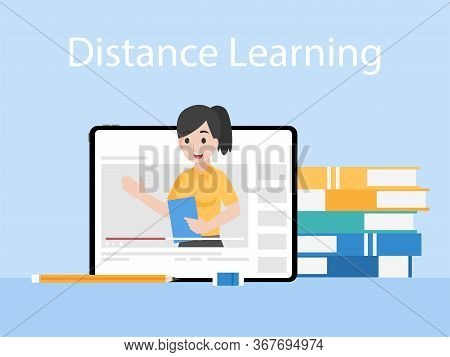 Online Teacher On Tablet Monitor Teaching Education Lesson With Video Tutorial On Video Blog Social
