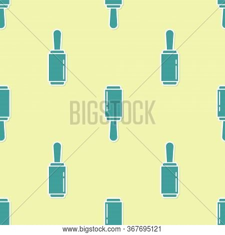 Green Adhesive Roller For Cleaning Clothes Icon Isolated Seamless Pattern On Yellow Background. Gett