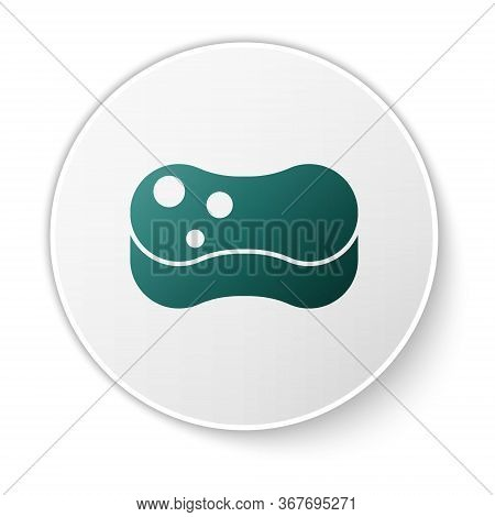 Green Sponge Icon Isolated On White Background. Wisp Of Bast For Washing Dishes. Cleaning Service Co