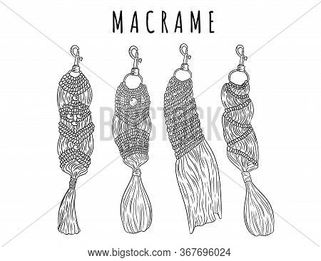 Set Of Macrame Boho Style Keychains. Collection Of Textile Knotting Design Charms. Linear Modern Ind