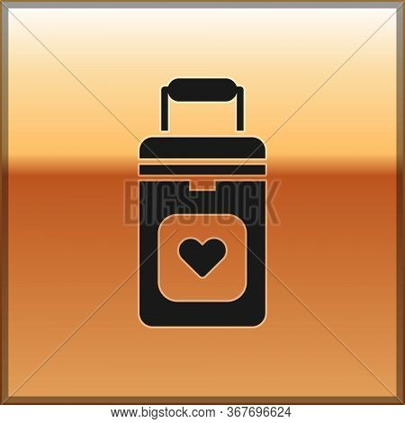 Black Cooler Box For Human Organs Transportation Icon Isolated On Gold Background. Organ Transplanta
