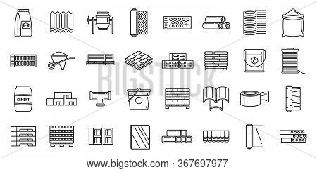 Modern Construction Materials Icons Set. Outline Set Of Modern Construction Materials Vector Icons F