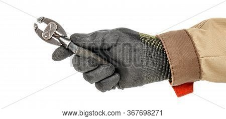 Small Hobby Vise In Man Hand In Black Protective Glove And Brown Uniform Isolated On White Backgroun