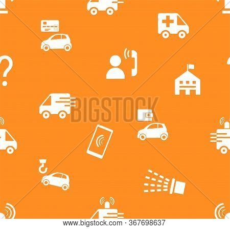Emergency Services, Seamless Pattern, Flat, Orange, Vector. Emergency Medical And Fire Assistance, R
