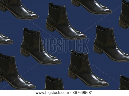 Elegant Black Boots Isolated On Blue Background. Fashionable Women's Boots Women's Demi-season Shoes