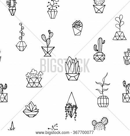 Doodle Plant In Faceted Pot Seamless Pattern. Hand-drawn Leaves, Succulents, Cactus, Poly Flower Pot