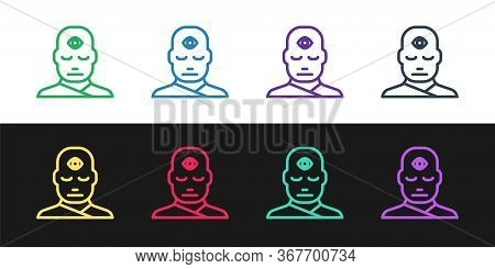 Set Line Man With Third Eye Icon Isolated On Black And White Background. The Concept Of Meditation,