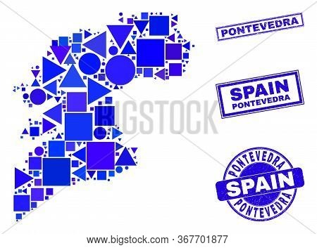 Vector Mosaic Pontevedra Province Map. Geographic Scheme In Blue Color Hues, And Unclean Round And R