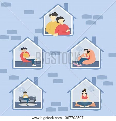 Stay At Home And Coronavirus Covid-19 Concept - Men And Women Quarantine Or Isolate Themselves Durin