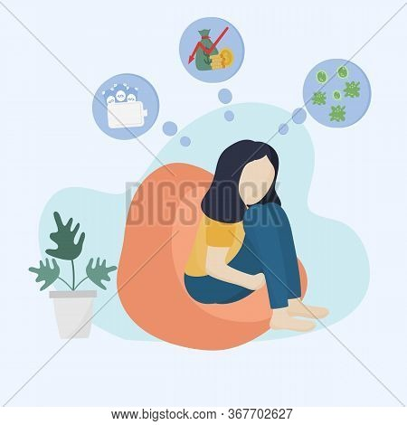 Concept Of The Effects Of The Coronavirus Or Covid - 19, Young Woman Sat Sadly From Unemployment By