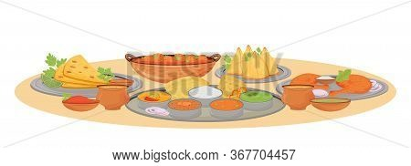 Indian Dishes Serving Cartoon Vector Illustration. Traditional Cuisine Meals And Sauces In Thali Fla