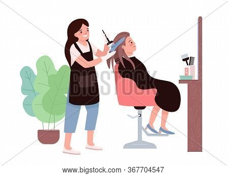 Hair Coloring Flat Color Vector Characters. Female Hairdresser. Hair Dyeing Procedure. Hairstylist S