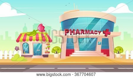 City Center Flat Color Vector Illustration. Flower Shop Front. Pharmacy Glass Building Exterior. Dru