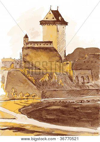 Old Fortress In The City Of Narva Estonia