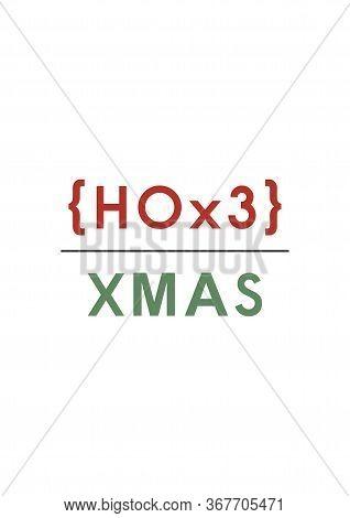 Ho3. Funny Christmas Simple Holiday Card - Ho Ho Ho. Mathematical Formula. Minimalist Christmas Card