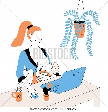Mom Freelancer Breastfeeds A Newborn And Works On A Laptop. Concept Of A Working Mother. A Woman Wit