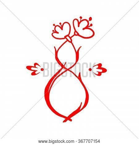 Floral Number Red 8 Hand Drawing. Cartoon Number 8 Isolate On A White Background. Weave Flowers With
