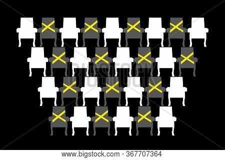 Social Distance In Theatre. Theater Work In Pandemic Atmosphere. Hess Order For Sitting People. Chai