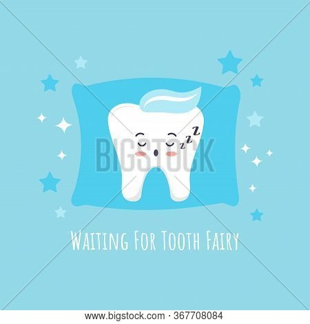 Cute Baby Tooth Emoji Sleeping On Pillow And Stars Around. Sweet Kawaii Boy Character With Closed Ey