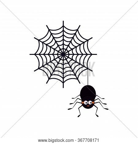 Cute Smiling Black Spider Hanging On A String Of Cobwebs With Spederwebs Icon Isolated On White Back