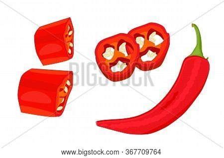 Chili Pepper Isolated On White Background. Set Of Red Hot Natural Chili Pod With Whole, Sliced, Piec