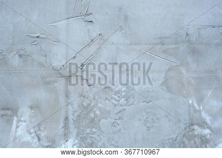 Cement Wall With Bumps On The Surface. Gray Wall Cement Coated Texture. The Facade Of The House Is C