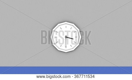 Abstract Round Clock Hanging On The Wall. Animation. Moving Towards The White Clock With The Hands R
