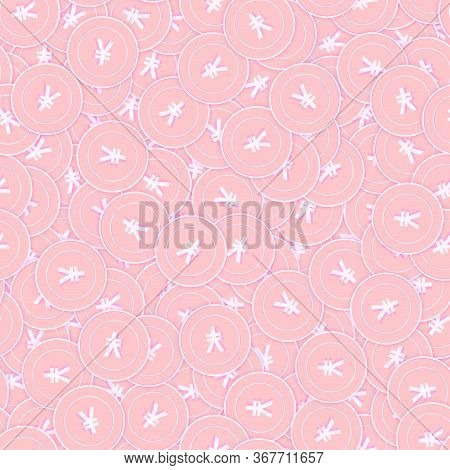 Chinese Yuan Copper Coins Seamless Pattern. Perfect Scattered Pink Cny Coins. Success Concept. China