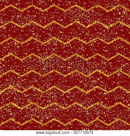 Tile Vector Pattern With Yellow Stripes, Golden Dust And Red Background For Seamless Decoration Wall