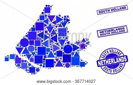 Vector Mosaic South Holland Map. Geographic Scheme In Blue Color Tints, And Textured Round And Recta