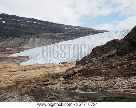 Scenery Of European Svartisen Glacier Tongue In Nordland County In Norway, Cloudy Sky In 2019 Cold S
