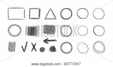 Vector Set Of Hand Drawn Design Elements, Black And White Illustration, Sketched Icons Collection, W