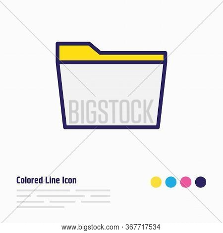 Illustration Of Folder Icon Colored Line. Beautiful Bureau Element Also Can Be Used As Document Case