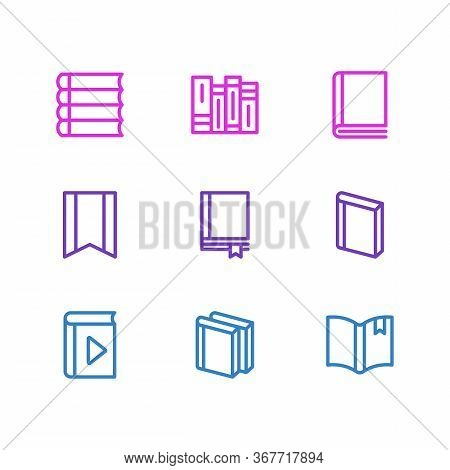 Vector Illustration Of 9 Book Reading Icons Line Style. Editable Set Of Schoolbook, Copybook, Bookma