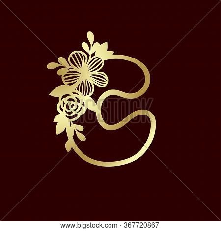 Delicate Pattern For Cutting Letter C With Tender Wildflowers. Paper Art. Golden Die Cutting For Scr