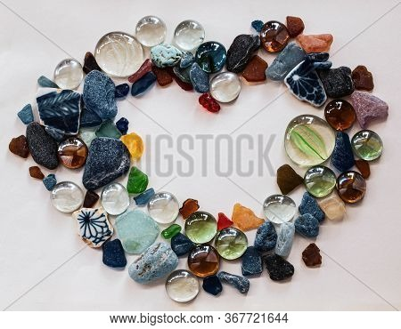 Colorful Sea Glass Pebbles And Decorative Glass, With Rare Red, Yellow And Lavender Pieces