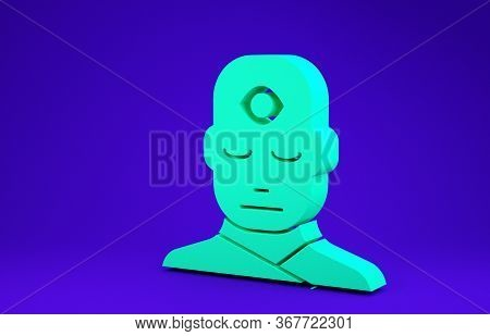 Green Man With Third Eye Icon Isolated On Blue Background. The Concept Of Meditation, Vision Of Ener